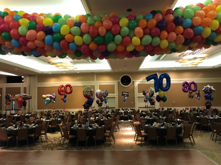 Balloon Drop and Centerpieces